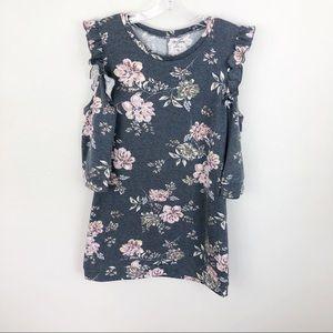 Alya Gray Floral Cold Shoulder Tunic Shirt Ruffle